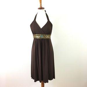 Boston Proper Halter Brown Dress Beaded Waist